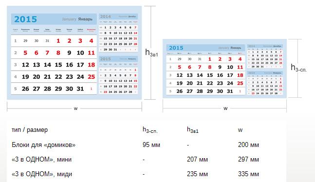 Размеры календарных блоков для квартальных календарей 3 в ОДНОМ и календарей-домиков